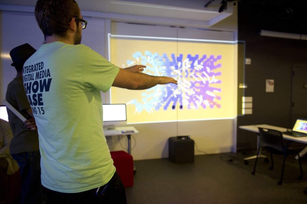Student project with a screen projection at IDM 2015 showcase