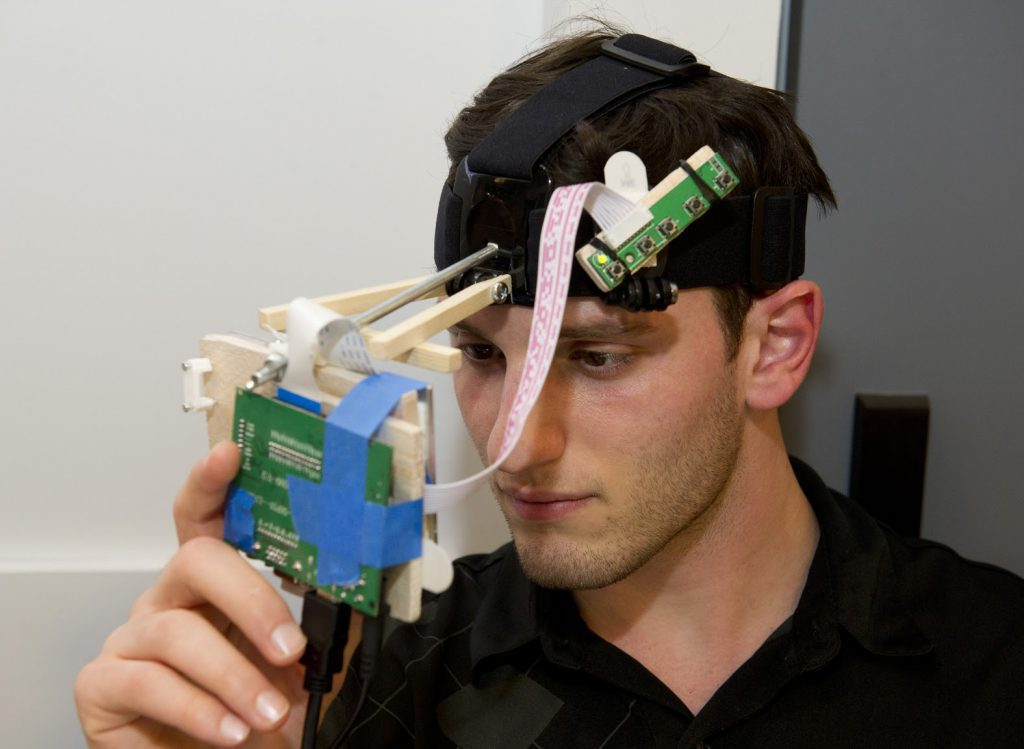 Student project with brain wave sensor and micro-controller at IDM 2015 showcase